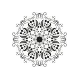 Mandala floral intrincada Elemento redondo abstrato do design web isolado no fundo branco Fotografia de Stock Royalty Free