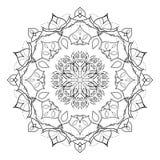 Mandala floral isolada no fundo branco Elemento decorativo handdrawn lindo do projeto Fotos de Stock Royalty Free