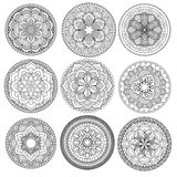 Mandala.Floral mandalas set.Coloring book. Outline . Pattern. Weave design element Stock Photo