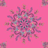 Mandala floral pattern colored on a pink background ethno motive, vector illustration, eps 10. Mandala floral pattern colored on a pink background ethno motive Vector Illustration