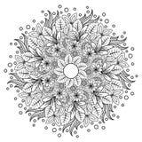 Mandala floral Zentangl da ilustra??o do vetor Desenho da garatuja Exerc?cios meditativos Anti esfor?o do livro para colorir ilustração do vetor
