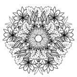 Mandala floral Zentangl del ejemplo del vector Dibujo del garabato Ejercicios meditativos Tensi?n anti del libro de colorear stock de ilustración