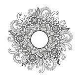 Mandala floral Zentangl del ejemplo del vector Dibujo del garabato Ejercicios meditativos Tensi?n anti del libro de colorear libre illustration