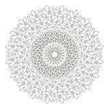 Mandala floral Zentangl del ejemplo del vector Dibujo del garabato Ejercicios meditativos Tensi?n anti del libro de colorear ilustración del vector