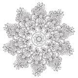 Mandala floreale di coloritura di astrazione illustrazione di stock