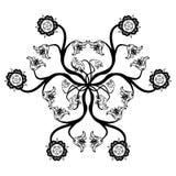 Mandala floreale nera Fotografia Stock Libera da Diritti
