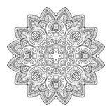 Mandala floreale nera Fotografie Stock Libere da Diritti