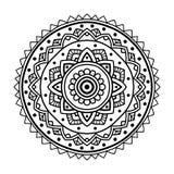 Mandala floreale nera Immagini Stock