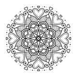 Mandala floreale nera con i cuori Immagine Stock