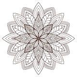 Mandala floreale ornamentale Progettazione di arte del tatuaggio Modello dell'ornamento del tappeto Vettore per la pagina adulta  illustrazione vettoriale