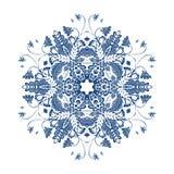 Mandala floreale snowflake Modello magico illustrazione di stock