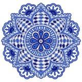 Mandala flower of circular elements. Blue ethnic pattern. Royalty Free Stock Photography