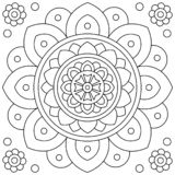 Mandala. Flower. Coloring page. Black and white vector illustration. Flower. Mandala. Coloring page. Black and white vector illustration stock illustration