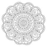 Mandala flower coloring vector for adults. Mandala flower coloring book for adults vector illustration. Anti-stress coloring for adult. Zentangle style. Black Royalty Free Stock Images