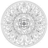 Mandala flower coloring vector for adults. Mandala flower coloring book for adults vector illustration. Anti-stress coloring for adult. Zentangle style. Black Stock Image
