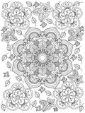 Mandala flower coloring vector for adults Royalty Free Stock Image