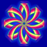 Mandala flower, rainbow colors in circles over blue Stock Photo