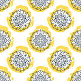 Mandala flower seamless vector pattern. Repeating Stock Photo