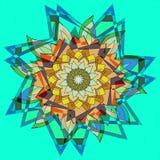 STARS MANDALA FLOWER. PLAIN AQUAMARINE BACKGROUND. CENTRAL DESIGN IN BLUE, ORANGE, YELLOW, BROWN AND BEIGE vector illustration