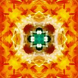 MANDALA FLOWER VINTAGE, WITH A CENTER FLOWER IN GOLD. DARK GREEN CROSS IN THE CENTER, WITH A SQUARE IN WHITE. PETALS  IN RED royalty free illustration