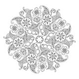 Mandala with flowers and leaves isolated on white background. vector illustration