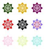 Mandala flowers set. Geometric flowers collection mandala style Stock Images