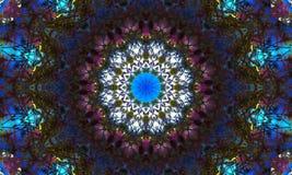 Mandala foncé de mosaïque avec des effets de la lumière colorés illustration libre de droits