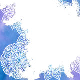 Mandala - freehand drawing. Vector background. Blue water color on a white background. Empty space for your text. Round pattern in oriental style Stock Image