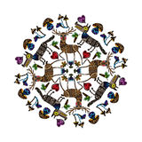 Mandala with funny animals. Stock Images
