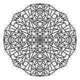 mandala geométrica e fechado simples a colorir, para enegrecer no fundo branco ilustração royalty free