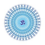 Mandala geométrica y elegante delicada en colores azules Vector Imágenes de archivo libres de regalías