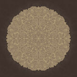 Mandala geometric circle element, brown and beige Stock Images