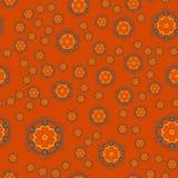 Mandala Geometric Seamless Pattern Het herhalen van Achtergrondtextuur in Oranje Kleur Modieuze Vectorillustratiedruk Stock Afbeelding