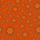 Mandala Geometric Seamless Pattern Répétition de la texture de fond dans la couleur orange Copie élégante d'illustration de vecte Image stock