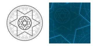 Mandala geometrica con la stella di Davide in modello quadrato concentrare e variopinto Modello rotondo per il libro da colorare Fotografie Stock Libere da Diritti
