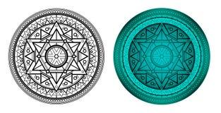 Mandala geometrica con la stella di Davide nel centro Immagine Stock