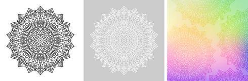 Mandala geometrica con la stella di Davide nel centro Modello rotondo per il libro da colorare Fondo variopinto quadrato di pende Immagine Stock Libera da Diritti