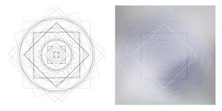 Mandala geometrica e modello quadrato grigio Modello rotondo per il libro da colorare Fotografie Stock
