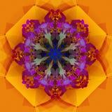 MANDALA-GEOMETRISCHE GOLDblume, PURPPLE-MITTE IN DEN ABSTRAKTEN FORMEN DECORATIVES-ELEMENTE, BESCHAFFENHEIT vektor abbildung