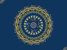 Mandala. Gold On Blue. Digital art, abstract fractal what reminds a mandala`s pattern Stock Image