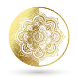 Mandala in gold. Mandala logo in gold and shine royalty free illustration