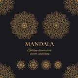 Mandala vector luxury illustrations set. Golden decorative ornaments on black background stock illustration