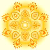 Mandala golden sun design. Mandala design representing the sun's golden glow royalty free illustration