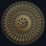 Mandala gouden, Fijne carv Rond Ornamentpatroon Uitstekende decoratieve elementen Stock Afbeelding