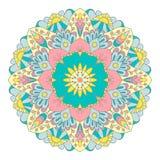 Mandala grafica multicolore con i motivi etnici e floreali illustrazione vettoriale