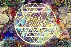 Mandala graphique de la géométrie sacrée colorée de résumé photographie stock