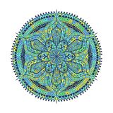 Mandala. Green blue oriental decorative flower pattern. Vector illustration isolated on white background royalty free illustration