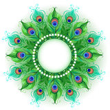 Mandala of green peacock feathers Stock Photos