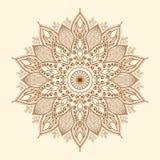 Mandala. Härlig hand-dragen blomma. Arkivfoto