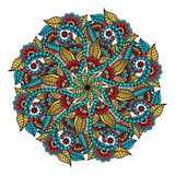 mandala Hand dragen bakgrund vektor för att färga sidan för vuxna människor arkivfoto